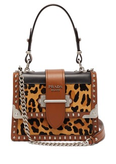 Prada Cahier leopard-print and leather shoulder bag