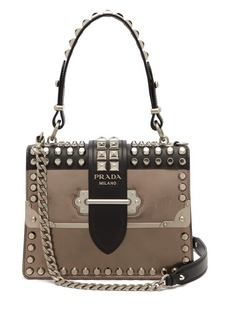 Prada Cahier metallic-leather studded shoulder bag