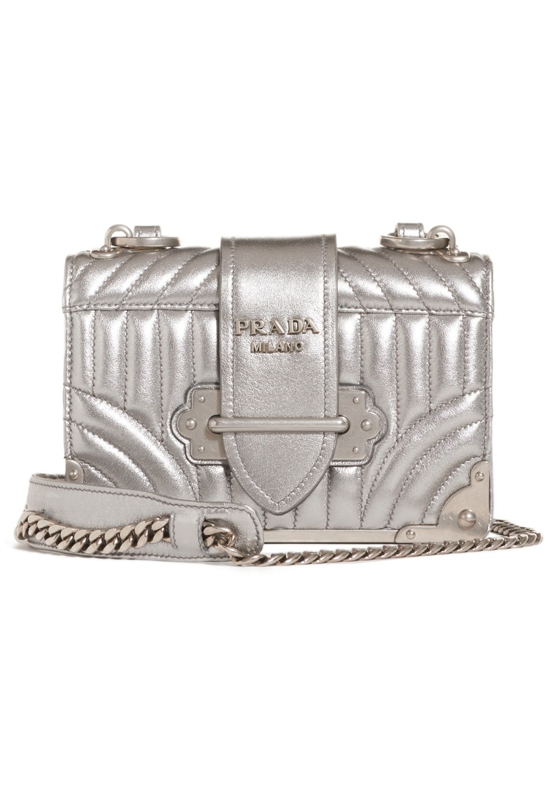 f20833bc4a Prada Prada Cahier Quilted Metallic Leather Crossbody Bag