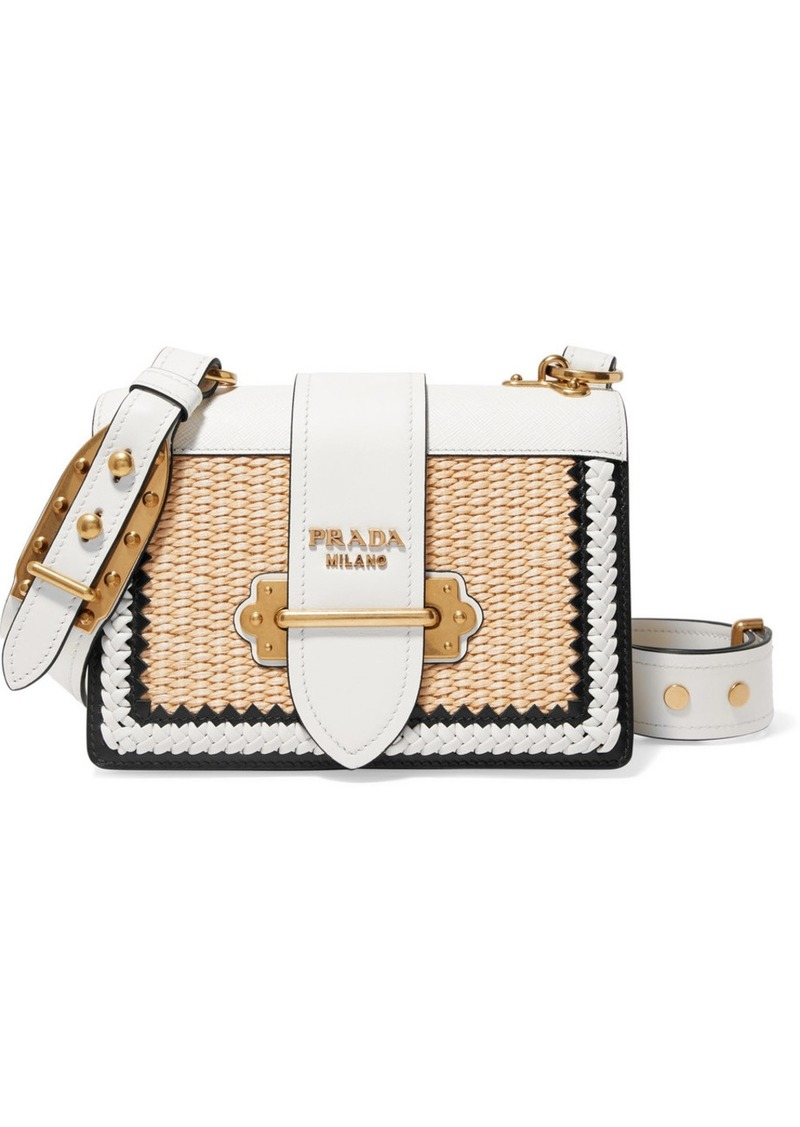 76925e671c59 Prada Cahier whipstitched leather and raffia shoulder bag | Handbags