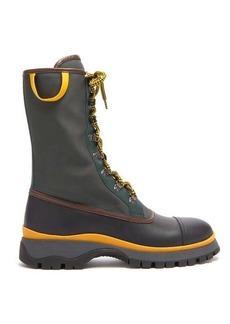Prada Canvas and leather rain boots