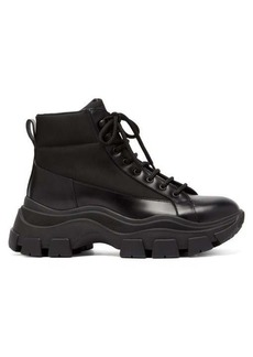 Prada Canvas-panelled leather boots