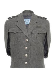 Prada Cape-Effect Wool-Bouclé Jacket