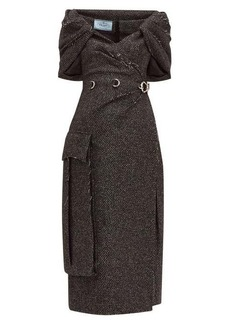 Prada Cape-panel wool-blend tweed dress