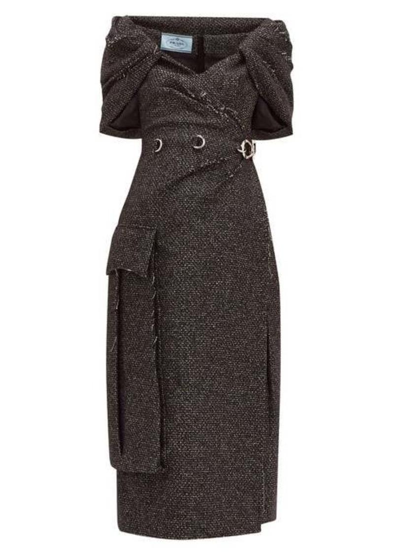 Prada Cape-panel wool-blend tweed dress