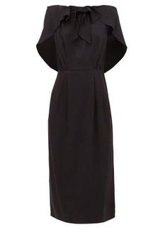 Prada Cape-shoulder crepe midi dress