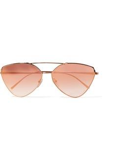 Prada Cat-eye rose gold-tone mirrored sunglasses