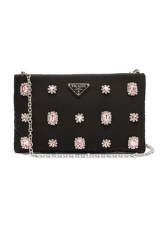 Prada Catene crystal-embellished padded-nylon clutch