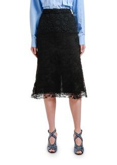 Prada Chantilly Peony Lace Midi Skirt