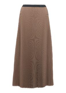 Prada Checked Plisse-Crepe Midi Skirt