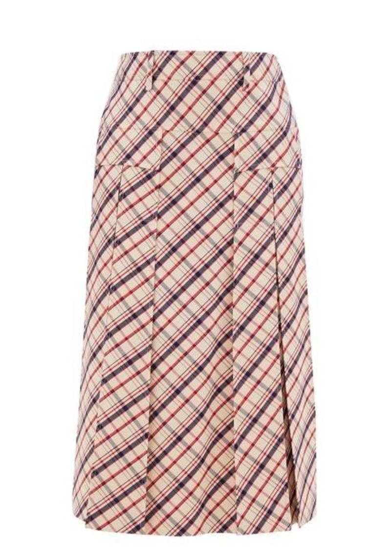 Prada Checked wool-twill skirt