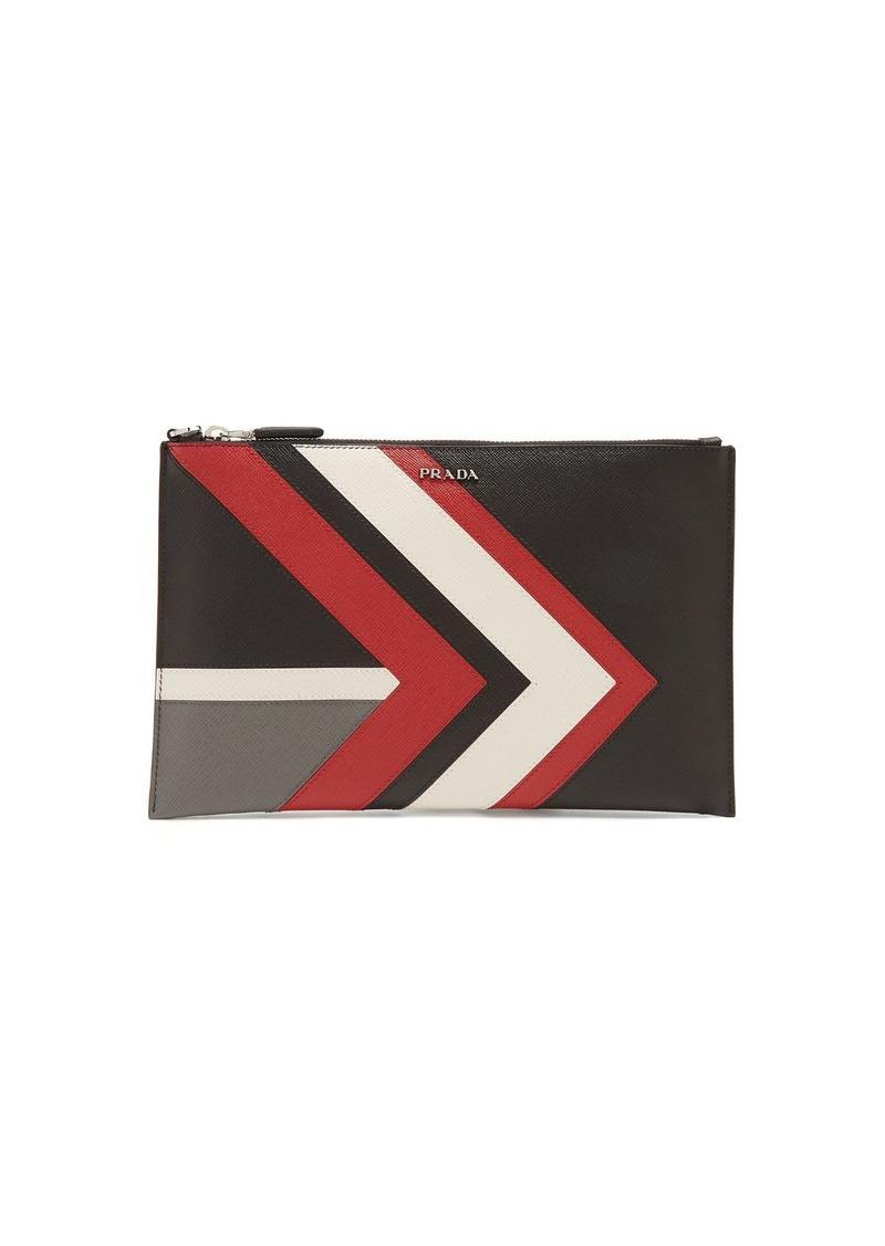 2dad4c9b7d2e Prada Prada Chevron-stripe saffiano-leather pouch | Bags