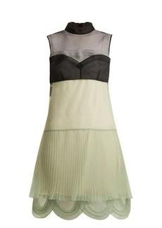Prada Cigaline contrast-panel pleated organza dress