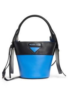 Prada City Calf Bicolor Leather Bucket Bag