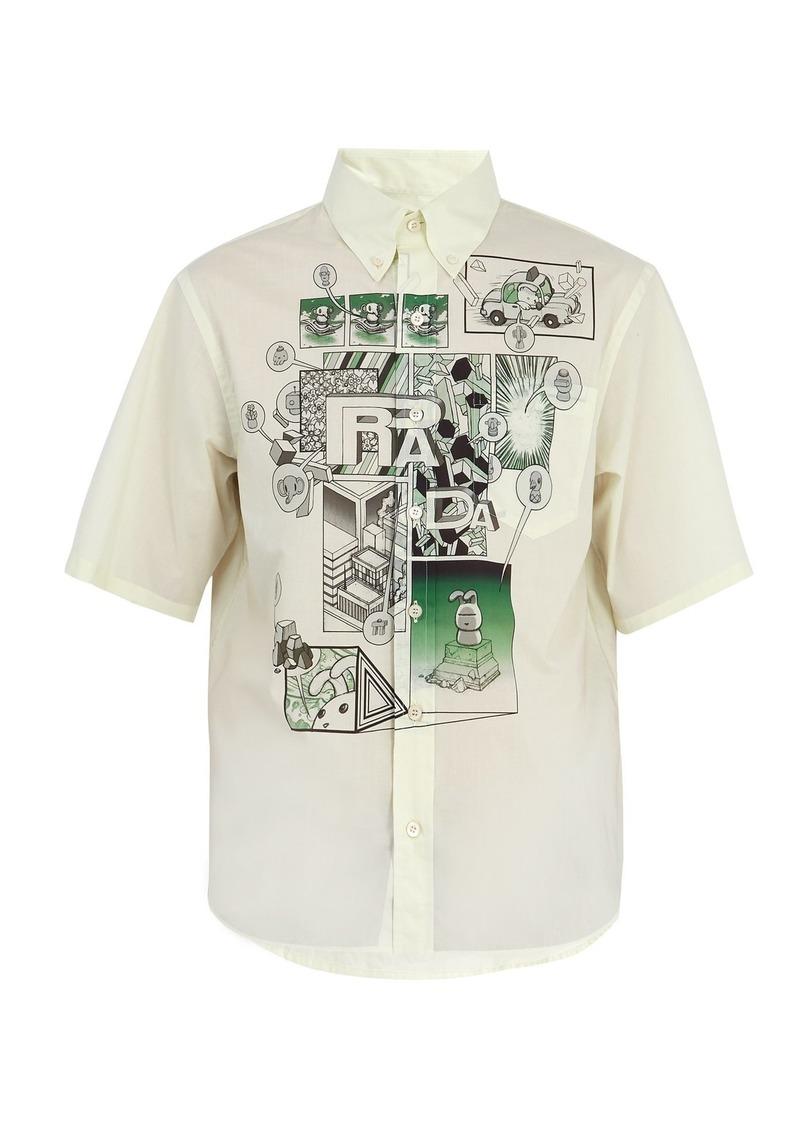 3384b6d6a Prada Prada Comic-print cotton-poplin shirt