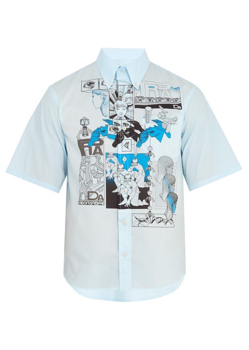 9056df47b8 Comic-print cotton-poplin shirt