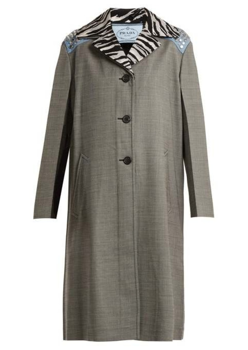 Prada Contrast-collar wool-blend coat