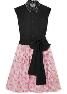 Prada Cotton-poplin And Metallic Brocade Mini Dress
