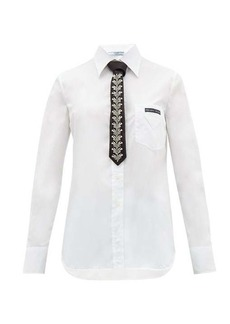 Prada Cotton-poplin shirt & crystal-embellished silk tie