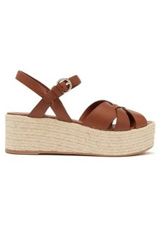 Prada Criss Cross leather wedge espadrille sandals