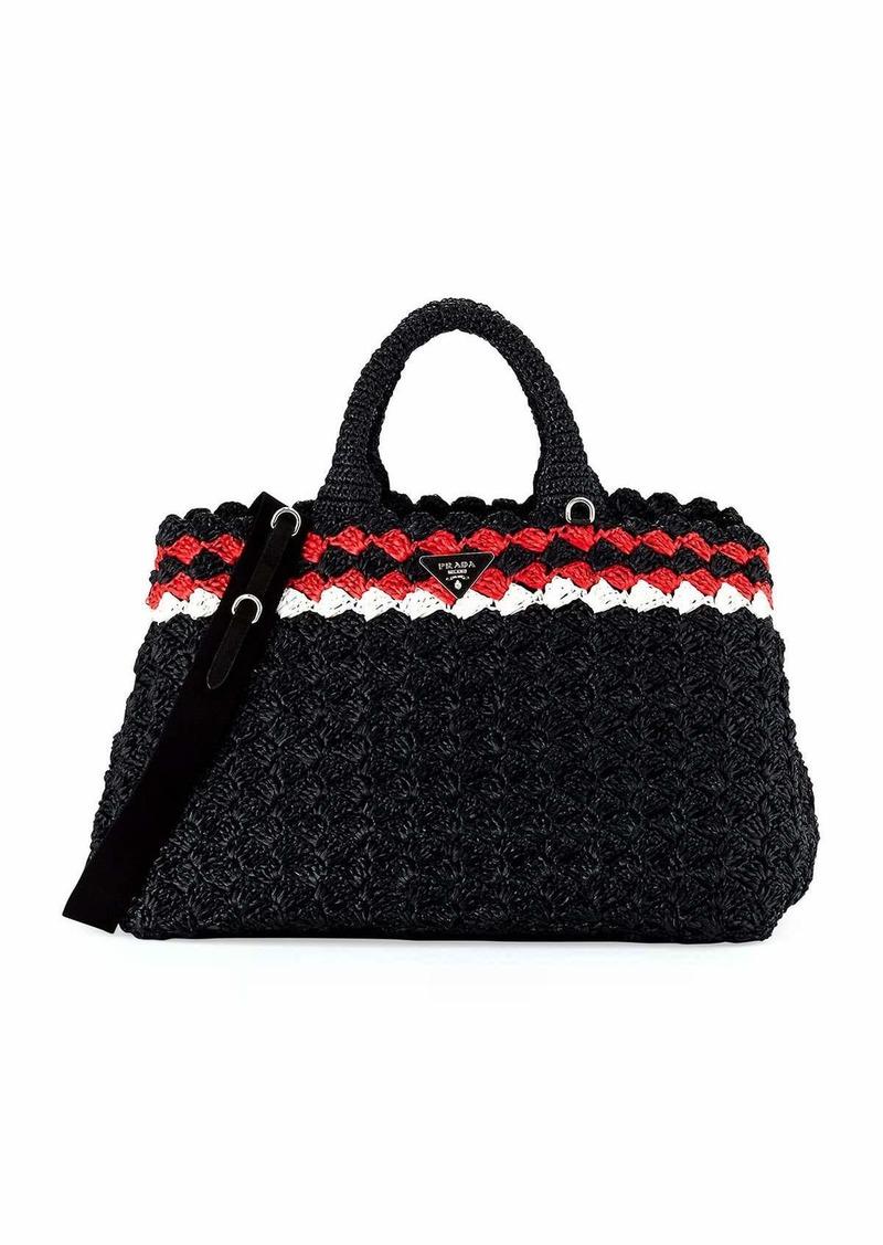 Prada Prada Crocheted Raffia Top-Handle Bag w Strap  79f7caca84