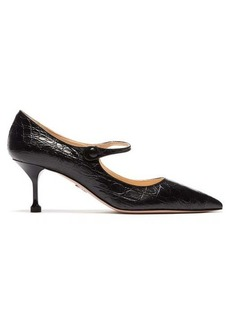 Prada Crocodile-effect leather Mary Jane pumps