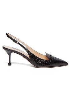 Prada Crocodile-effect slingback leather pumps