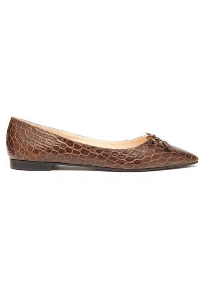 Prada Crocodile-embossed leather ballet flats