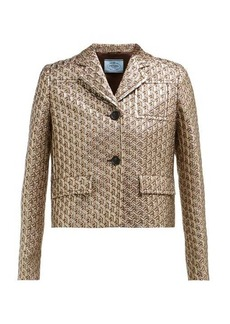 Prada Cropped single-breasted geometric-brocade jacket