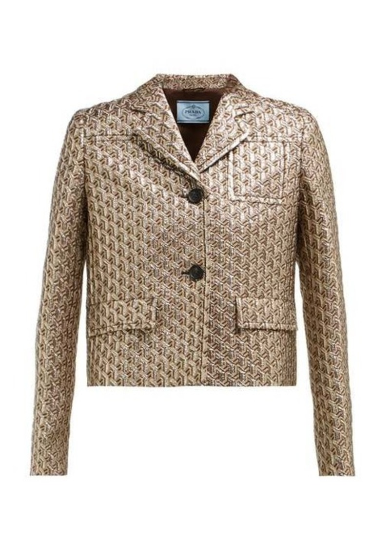 Prada Cropped single-breasted geometric-brocade jacket