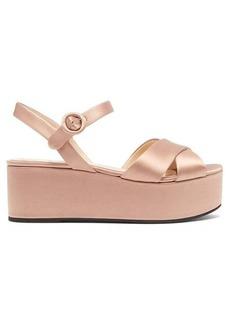 Prada Cross-over flatform satin sandals