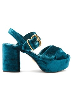 Prada Cross-strap crushed-velvet platform sandals