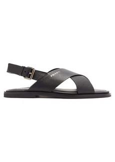 Prada Cross-strap saffiano-leather sandals