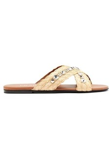 Prada Crystal and stud-embellished raffia slides
