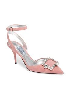 Prada Crystal Brooch Ankle Strap Pump (Women)
