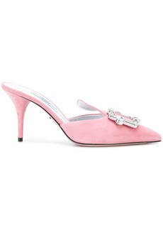 Prada crystal buckle mules - Pink & Purple