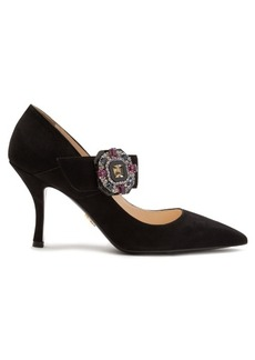 Prada Crystal-buckle suede Mary-Jane pumps
