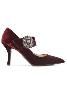 Prada Crystal-buckle velvet Mary-Jane pumps