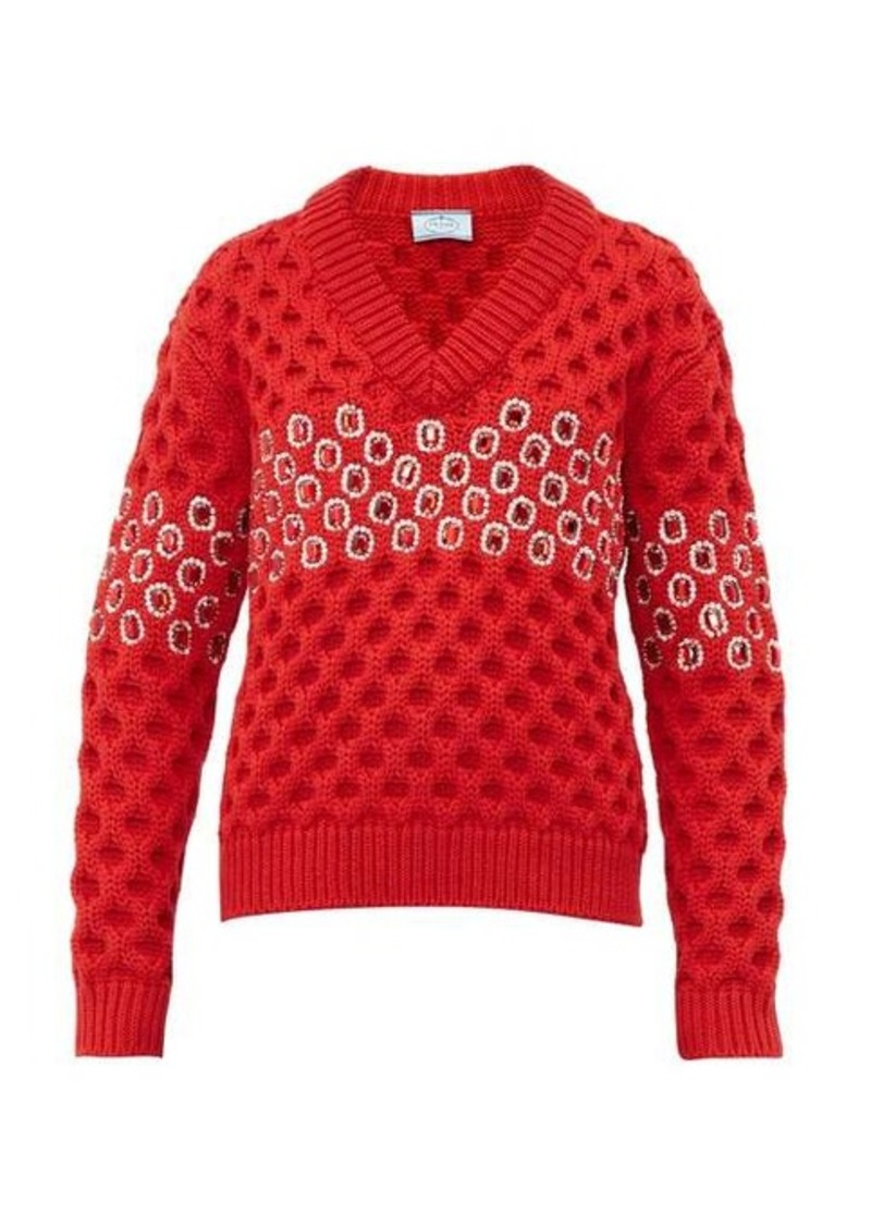 Prada Crystal chunky-knit wool sweater