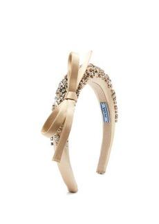 Prada Crystal-embellished bow-appliquéd satin headband