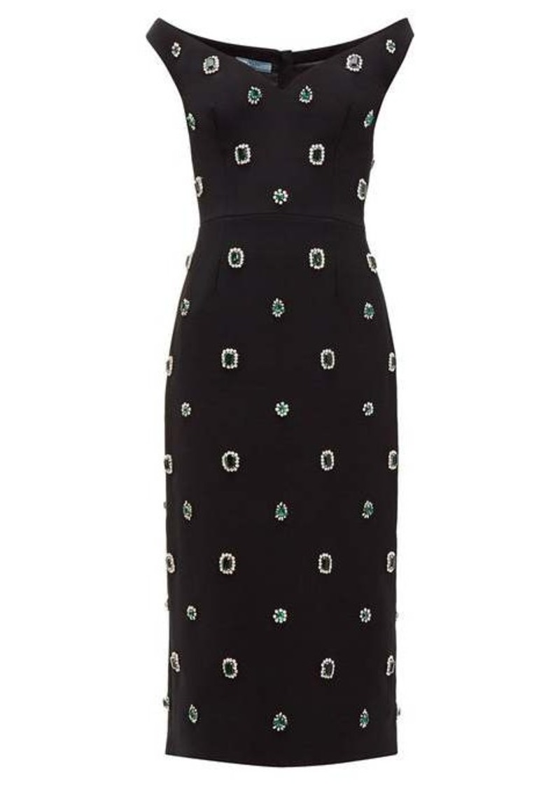 Prada Crystal-embellished cady midi dress