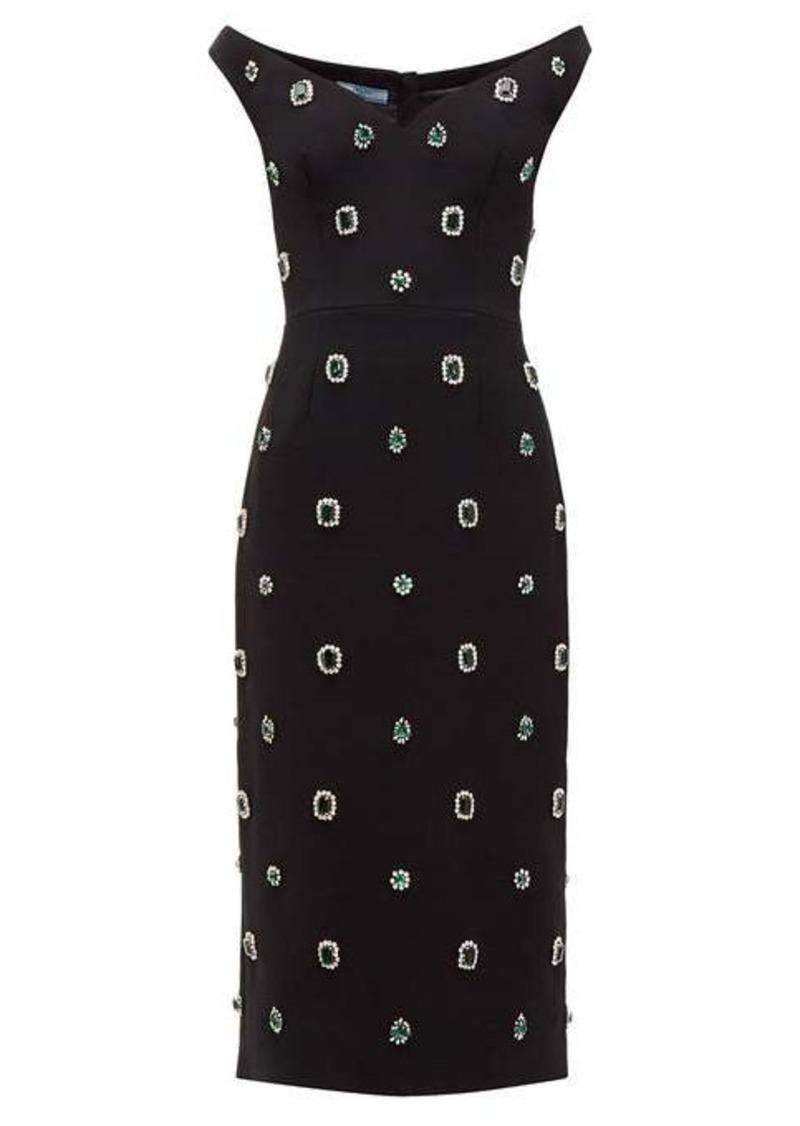 Prada Crystal-embellished cady midi dress