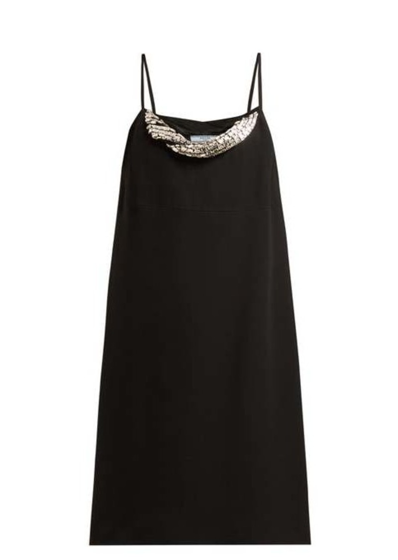 Prada Crystal-embellished crepe mini dress