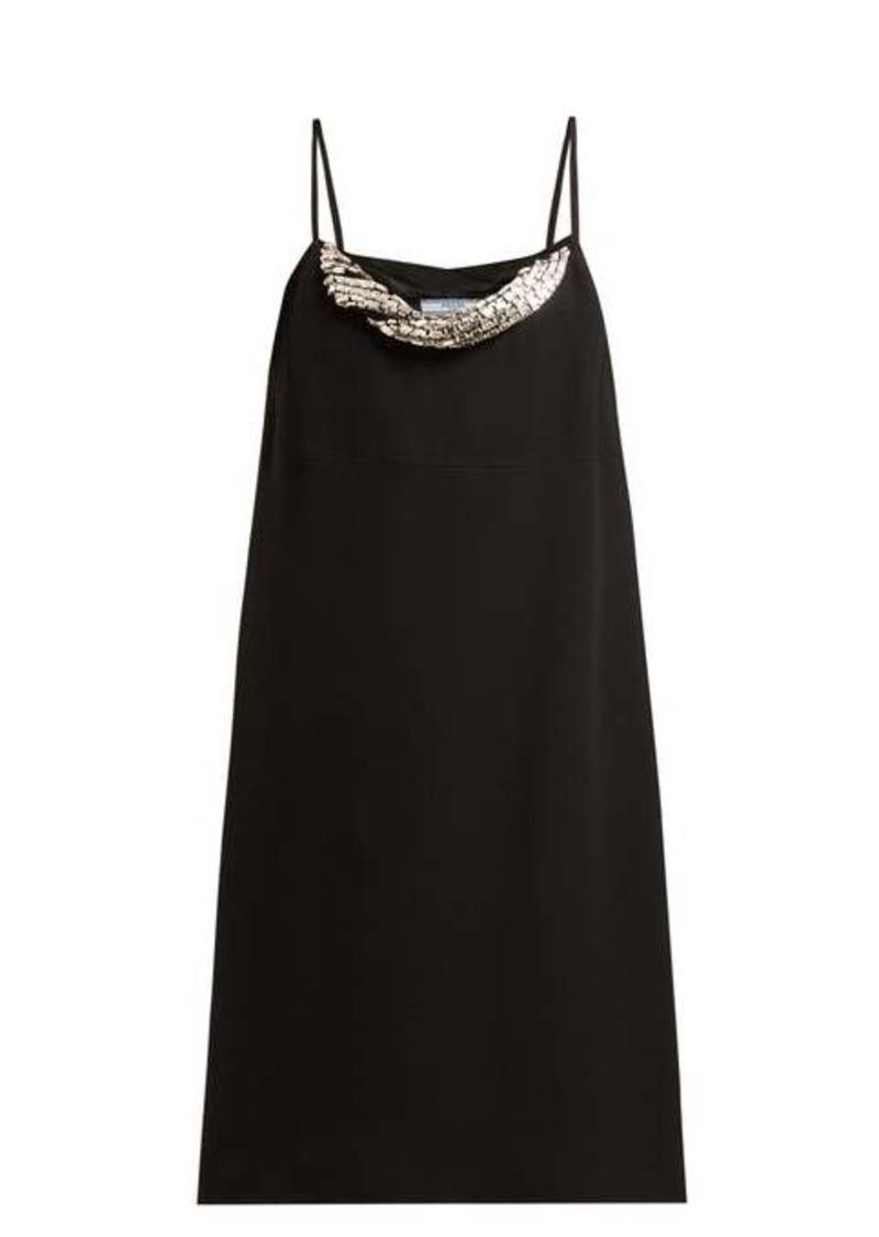 Prada Crystal-embellished crepe mini dress