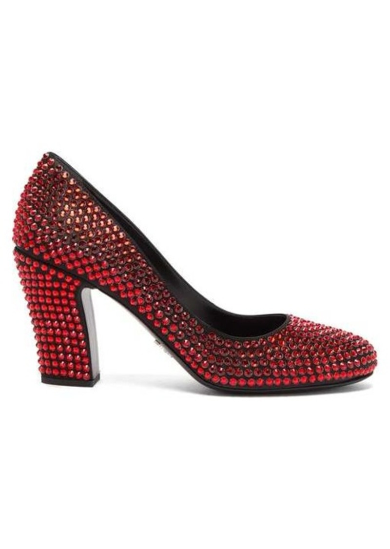 Prada Crystal-embellished leather pumps