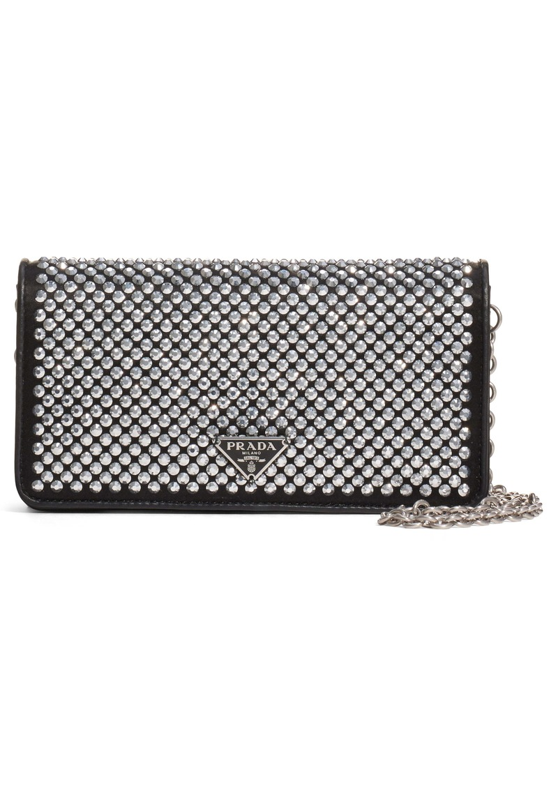 Prada Crystal Embellished Leather Wallet on a Chain