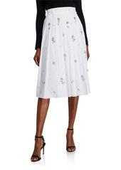 Prada Crystal-Embellished Pleated Poplin Skirt