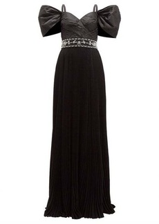 Prada Crystal-embellished pleated silk-taffeta gown