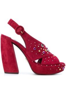 Prada crystal-embellished sandals - Red