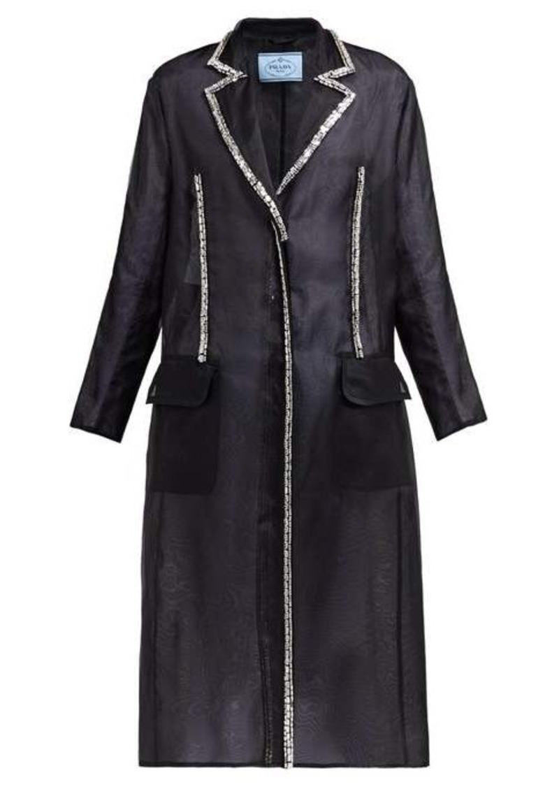Prada Crystal single-breasted silk-organza coat